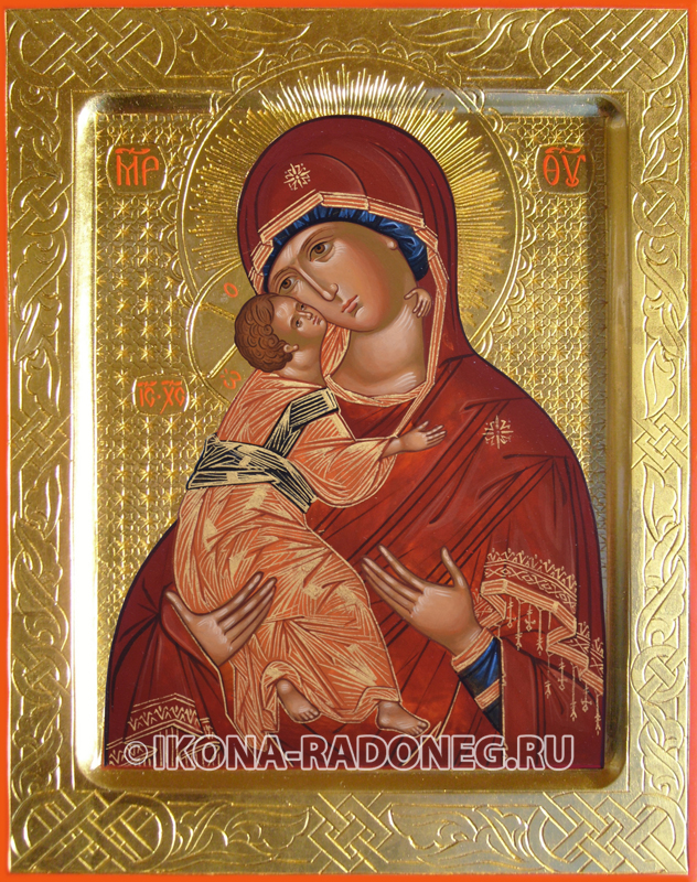 Владимирская икона Божией Матери с гравировкой