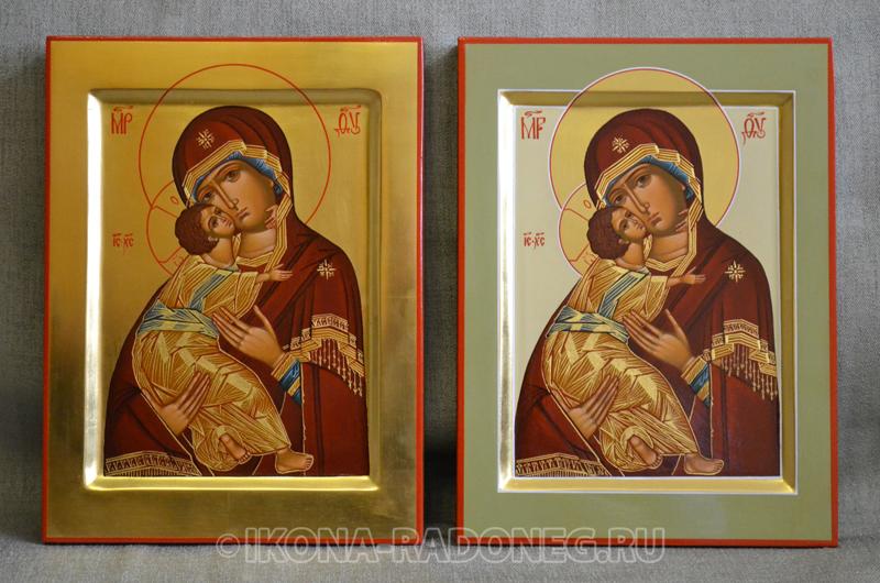 Икона с золотым фоном и икона с позолоченной лузгой