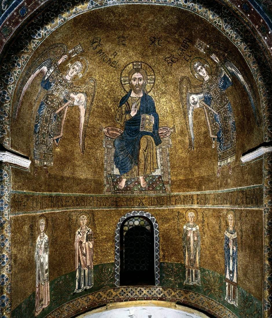 Христос Пантократор, архангелы Михаил и Гавриил, святители Григорий, Мартин, Амвросий, Августин. ц. Санта-Мария-Ассунта . 11 век.