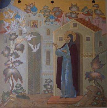 Видение птиц Сергию. Фреска. Свято-Троицкая Сергиева Лавра
