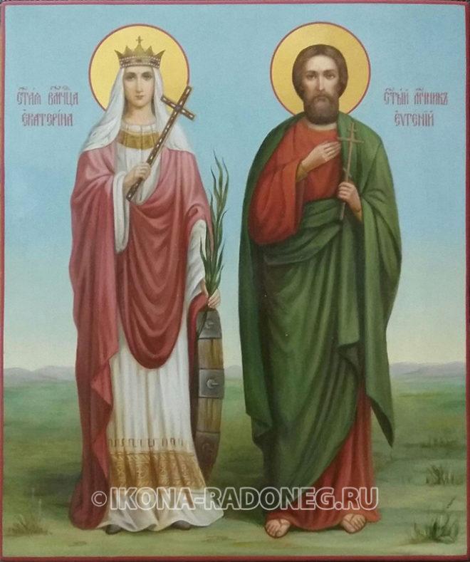 Икона мученика Евгения и великомученицы Екатерины
