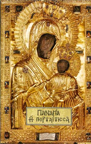 Иверская икона Божией Матери. Иверский монастырь. Афон. Греция.