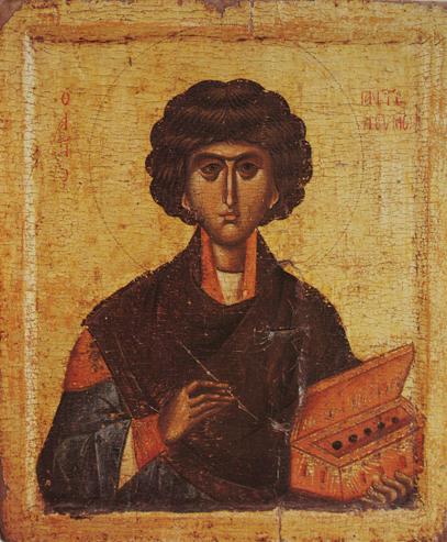 Икона Пантелеймона Целителя. Греция. 14 век.