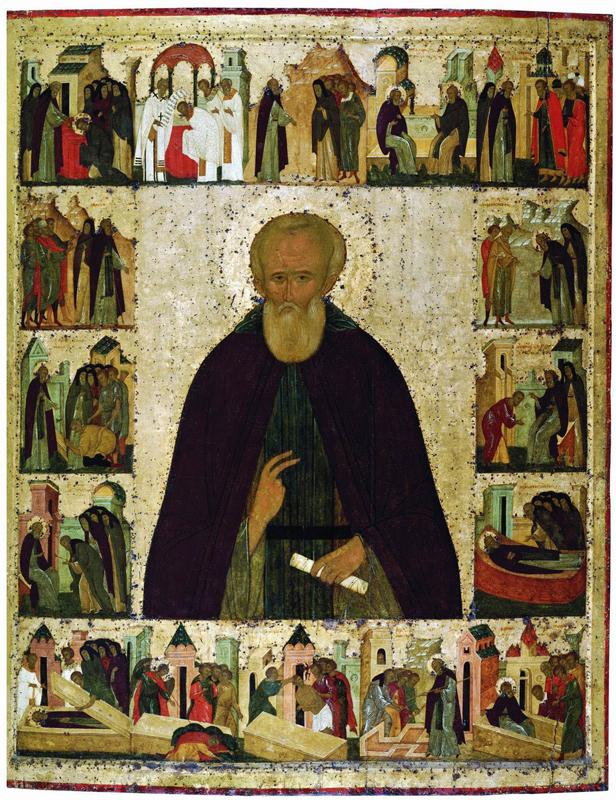 Икона Сергия Радонежского с житием. Дионисий