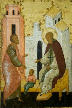 Возвращение ожившего по молитве Сергия младенца отцу. Икона Сергия Радонежского. Фрагмент