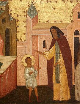 Благословение отрока Варфоломея. Икона Сергия Радонежского. Фрагмент
