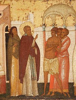 Сергий Радонежский исцеляет бесноватого вельможу. Икона Сергия Радонежского (Фрагмент)