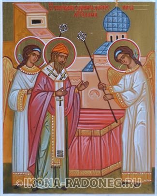 Икона Спиридона Тримифунтского. Святитель Спиридон служит литургию с Ангелами