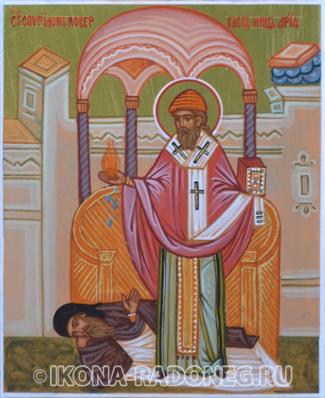 Икона Спиридона Тримифунтского. Святитель Спиридон повергает ниц Ария