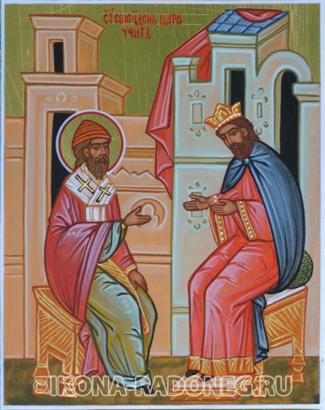 Икона Спиридона Тримифунтского. Святитель Спиридон царя учит