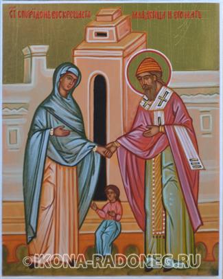 Икона Спиридона Тримифунтского. Святитель Спиридон воскрешает младенца и его мать