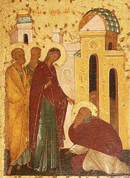 Явление Богородицы преподобному Сергию. Икона Сергия Радонежского. Фрагмент