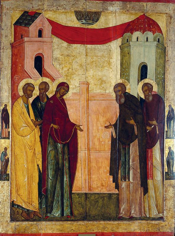 Икона Сергия Радонежского. Явление Божией Матери преподобному Сергию