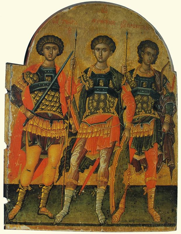 Икона Георгия Победоносца. Собор воинов