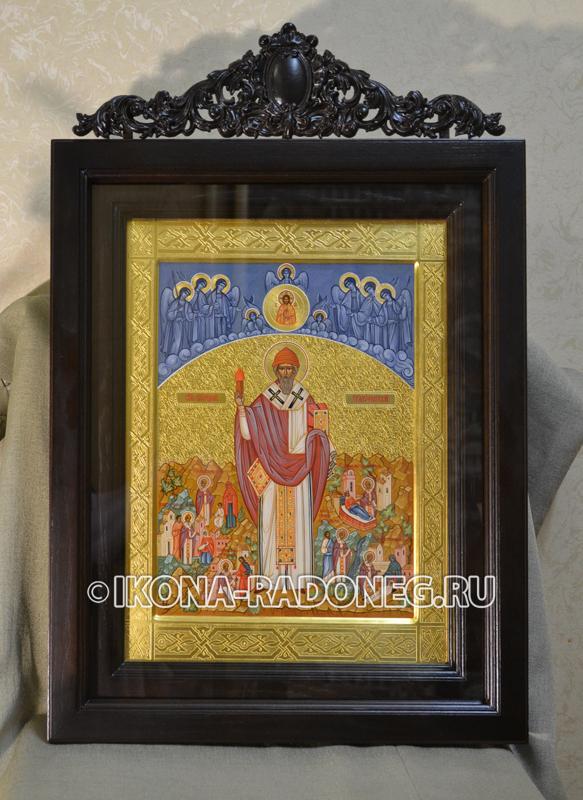 Икона Спиридона Тримифунтского в киоте