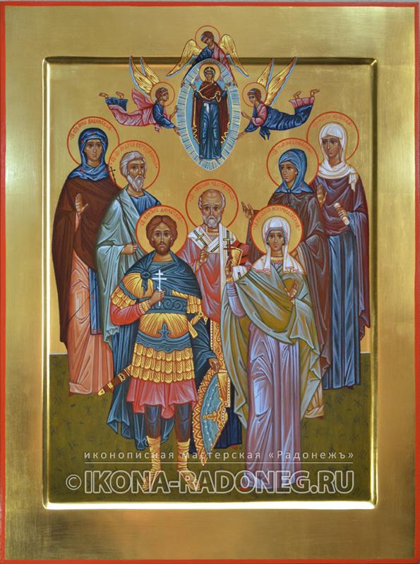 Семейная икона состоящая из семи фигур святых