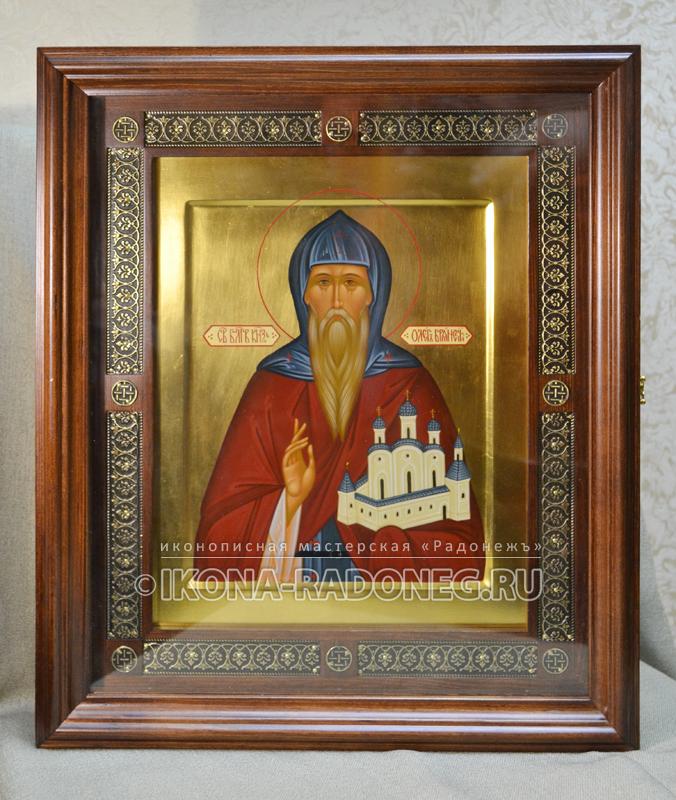 Икона Олега Брянского в киоте с басмой