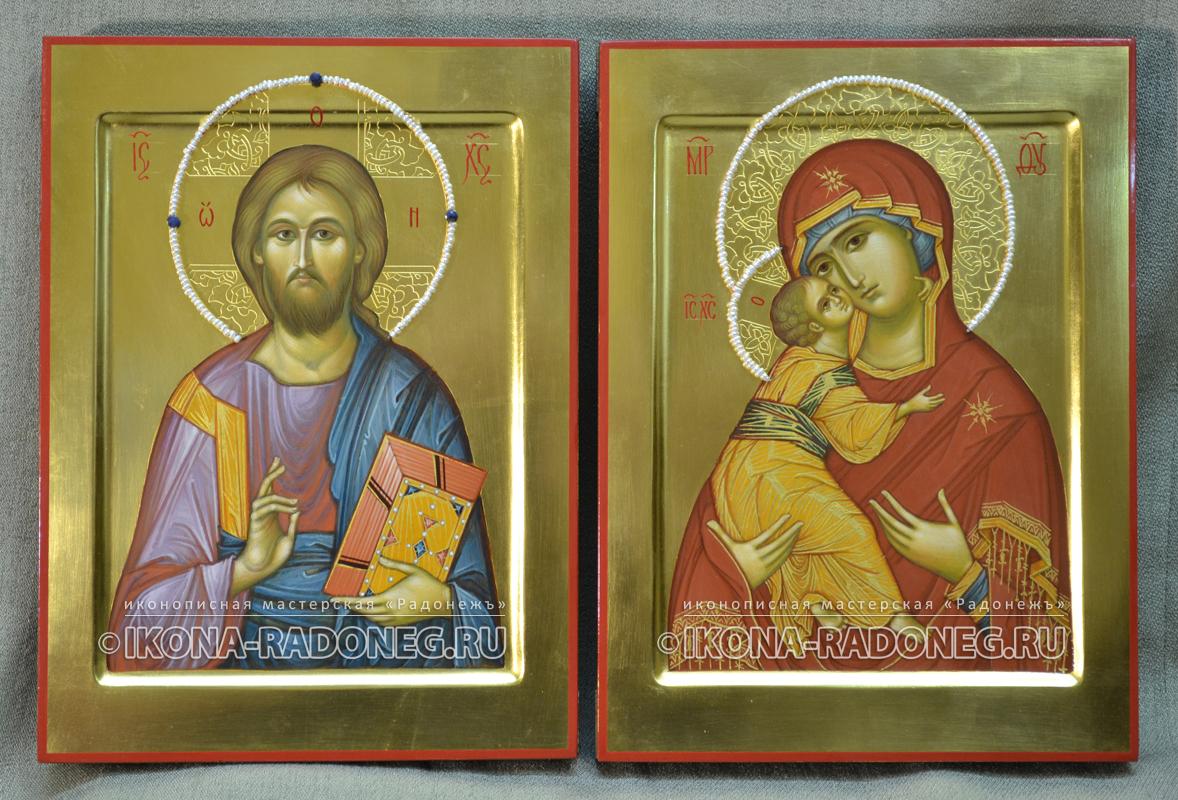 Венчальные иконы с гравировкой нимбов и жемчугом