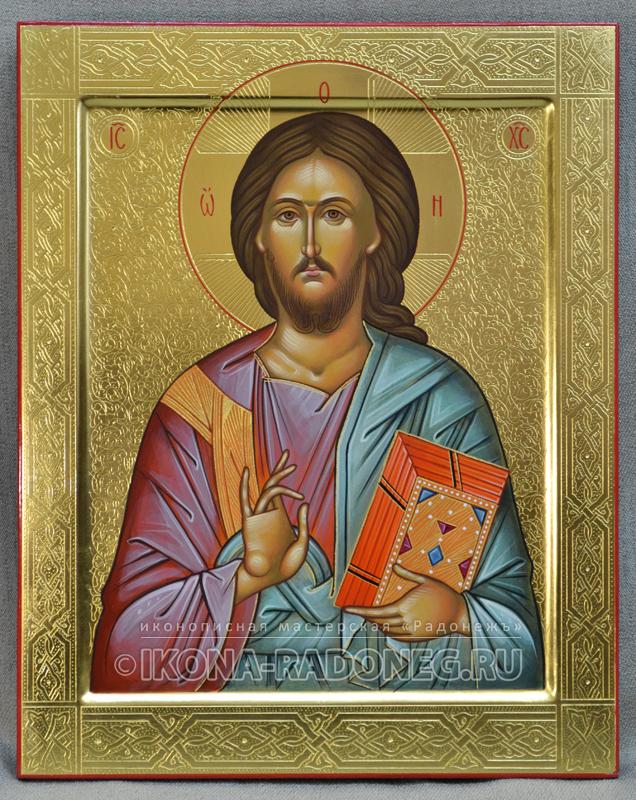 Господь Вседержитель – икона с гравировкой (обр. 2)