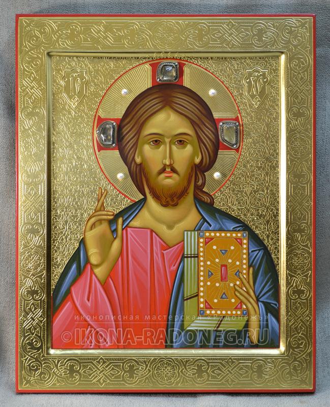 Господь Вседержитель – икона с гравировкой