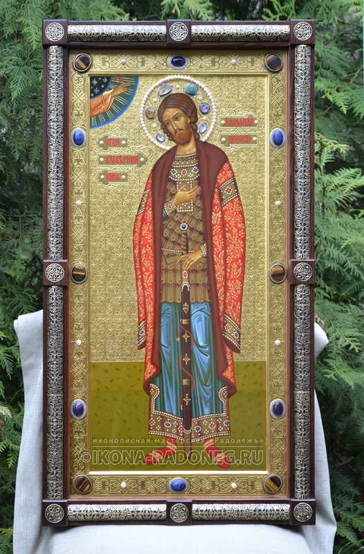 Александр Невский – икона с камнями