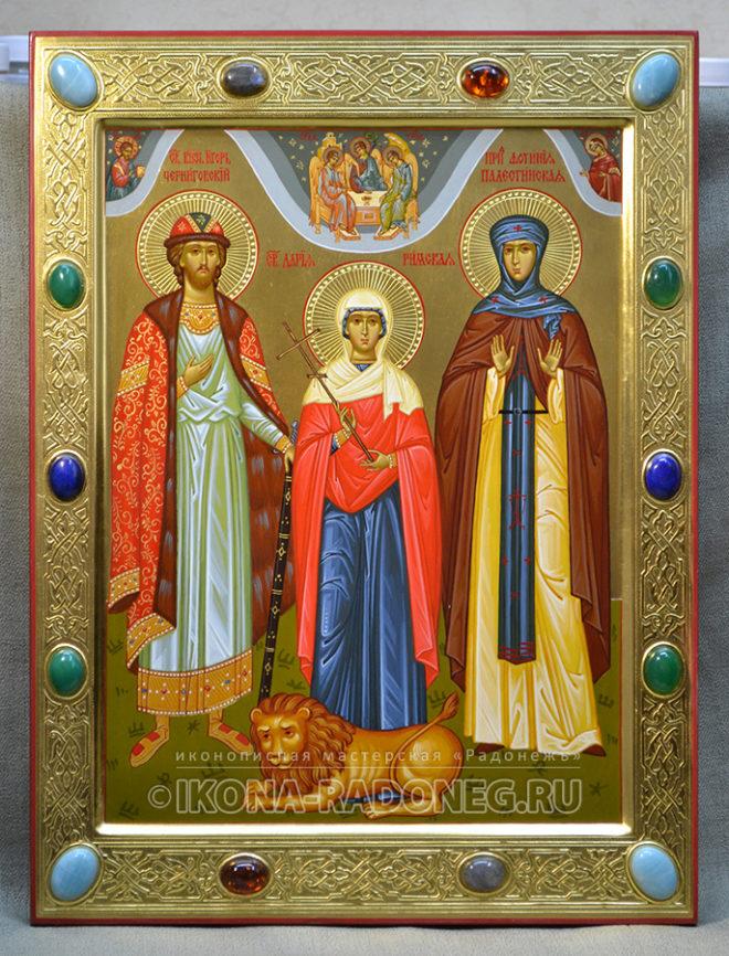 Икона - Собор святых (3 фигуры)