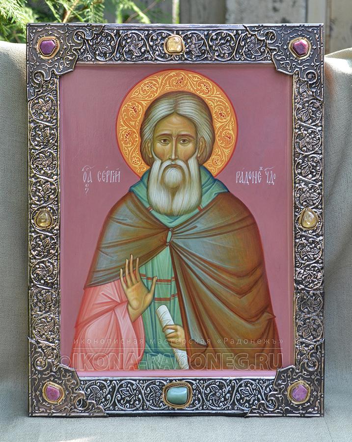 Икона Сергий Радонежский – икона с басмой